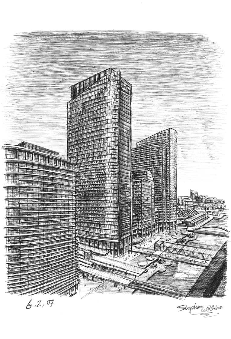 North Quay at Canary Wharf - original drawings and prints by Stephen Wiltshire