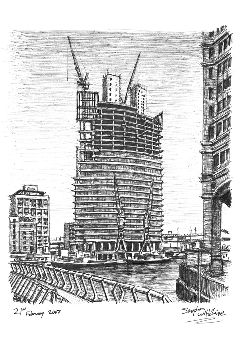 No.1 West India Quay at Canary Wharf - Original Drawings and Prints for Sale