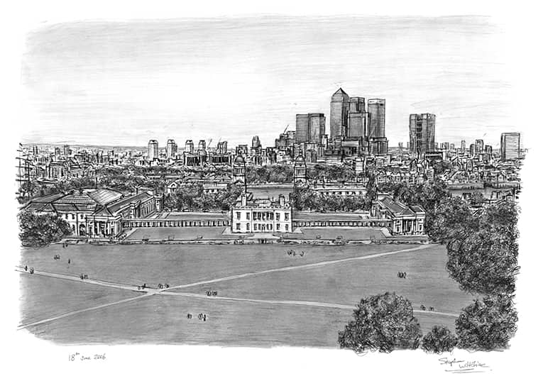 View of Canary Wharf and Docklands from Greenwich with White mount (A4) in Flat grain black frame for A4 mounts (J90)