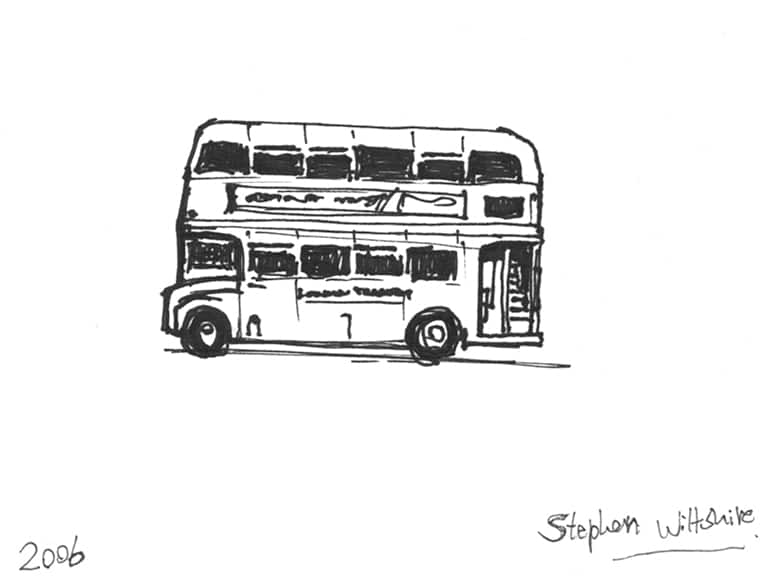 Quick sketch of a London Bus - original drawings and prints by Stephen Wiltshire
