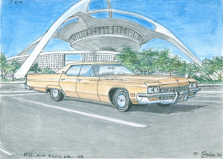 1972 Buick Electra Sedan - originals and prints by Stephen Wiltshire MBE