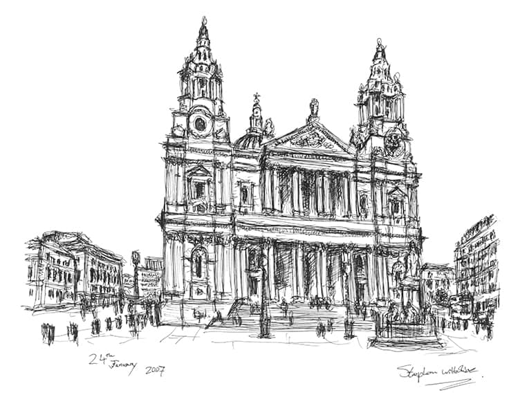 Quick sketch of St Pauls Cathedral - Original Drawings and Prints for Sale