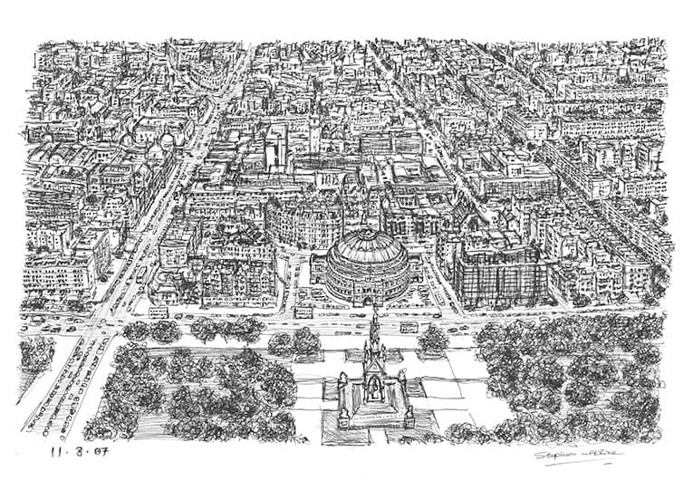 Aerial view of Royal Albert Hall and Kensington - original drawings and prints by Stephen Wiltshire