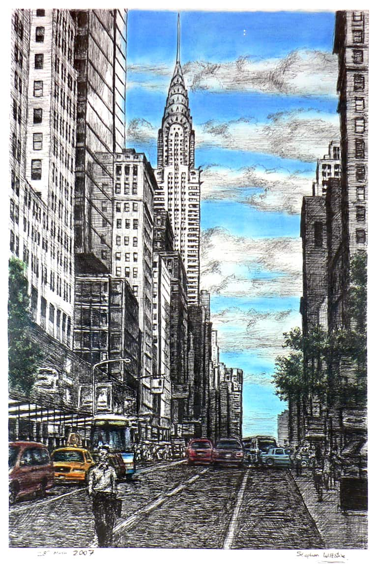 Chrysler Building with street scene in New York - originals and prints by Stephen Wiltshire MBE