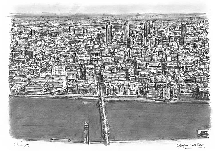 Aerial view of St Pauls Cathedral and Millennium Bridge - originals and prints by Stephen Wiltshire MBE