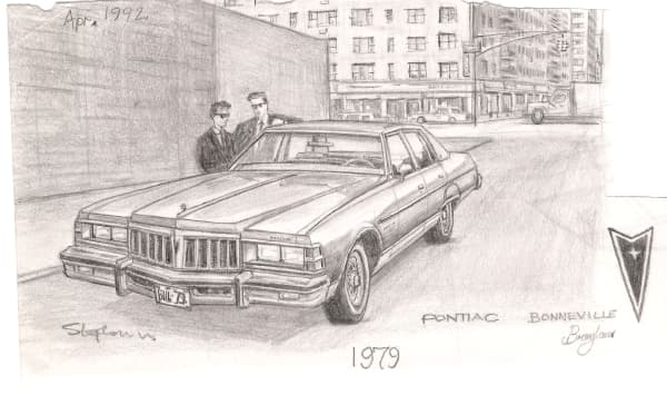 1979 Pontiac Boneville - original drawings and prints by Stephen Wiltshire