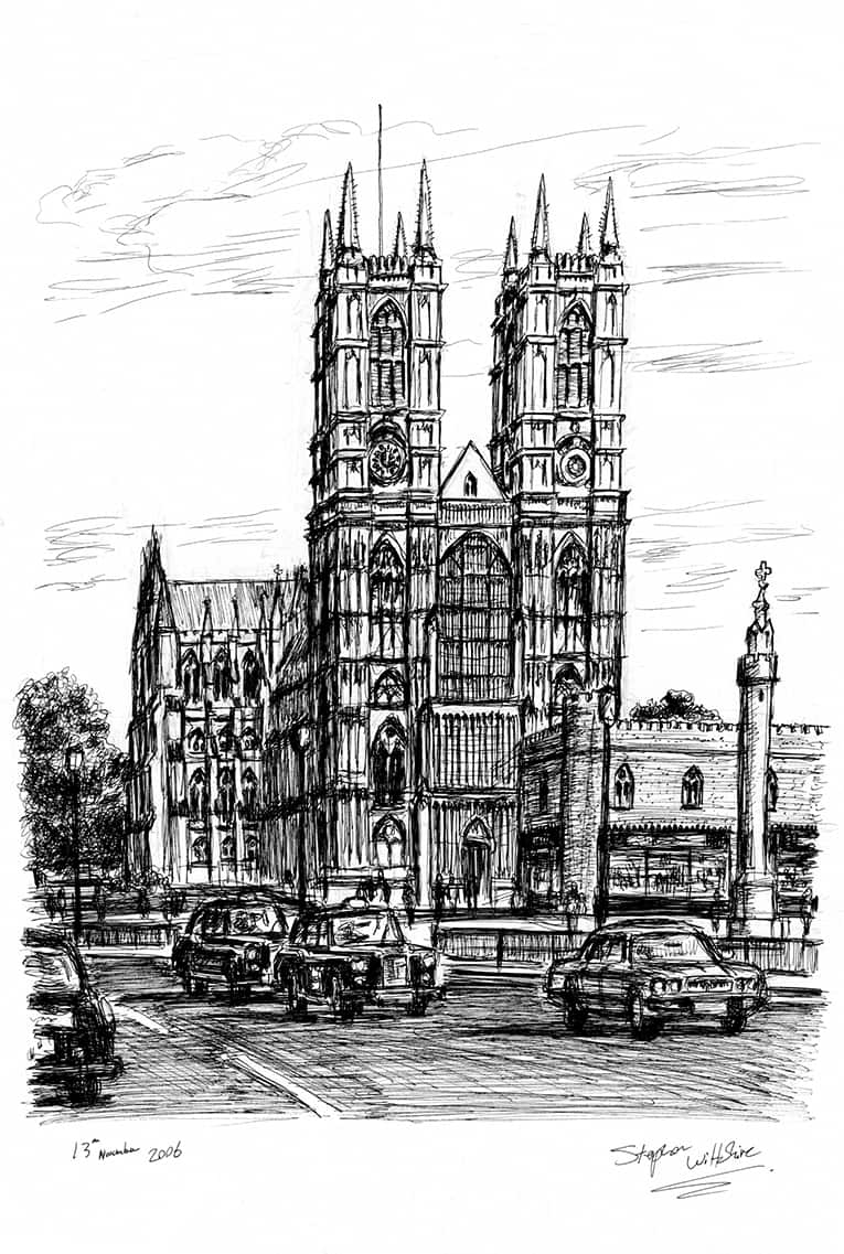 Westminster Abbey London - original drawings and prints by Stephen Wiltshire