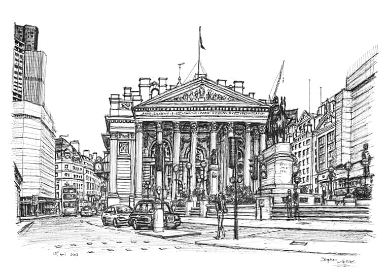 Royal Exchange London - Original Drawings and Prints for Sale
