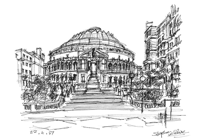 Royal Albert Hall from the steps of Royal College of Music - Original Drawings and Prints for Sale