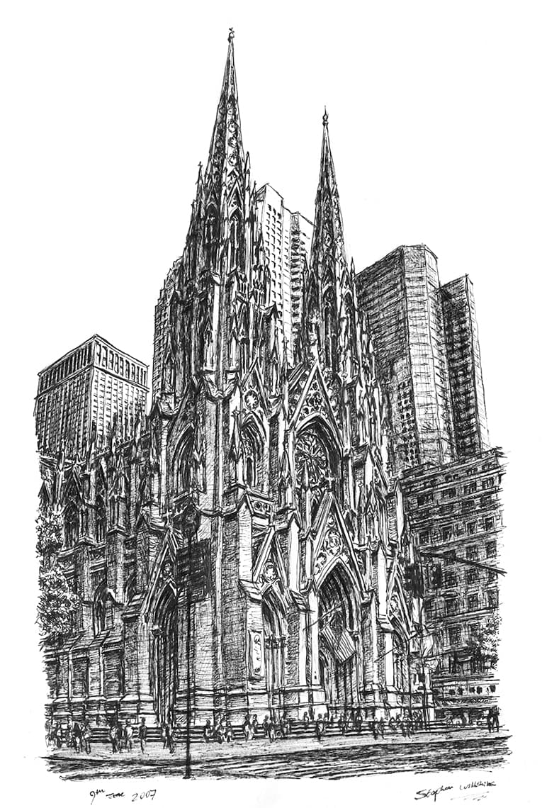 St Patricks Church New York - original drawings and prints by Stephen Wiltshire