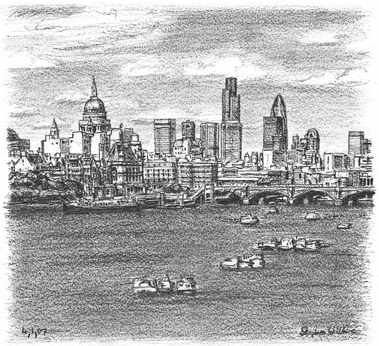 St Pauls Cathedral and London City Skyline - original drawings and prints by Stephen Wiltshire