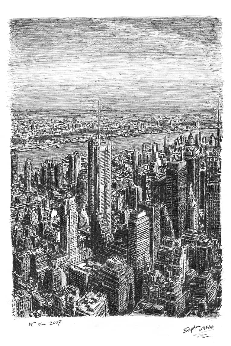 Manhattan Skyline from top of Empire State - originals and prints by Stephen Wiltshire MBE