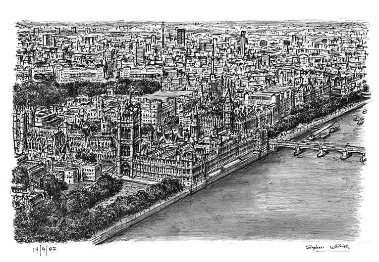 Aerial view of Houses of Parliament - original drawings and prints by Stephen Wiltshire