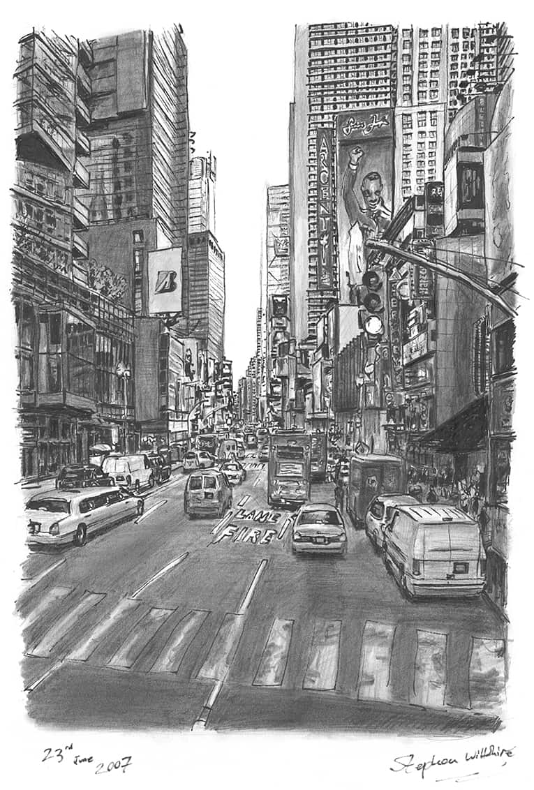 Times Square New York 2007 - drawings and paintings by Stephen Wiltshire MBE