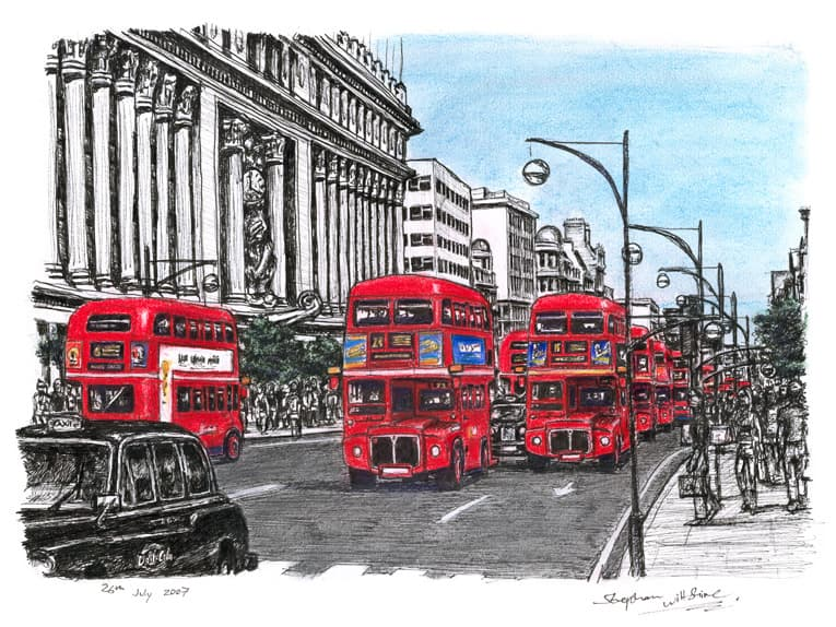 Red buses on Oxford Street - Limited Edition of 100 - original drawings and prints by Stephen Wiltshire