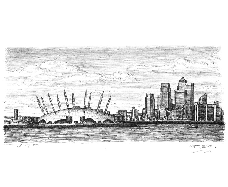 Millennium Dome and view of Canary Wharf - original drawings and prints by Stephen Wiltshire
