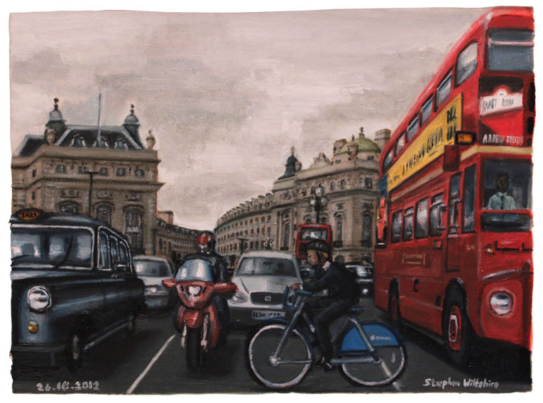 Piccadilly Circus - oil on canvas - Original Drawings and Prints for Sale