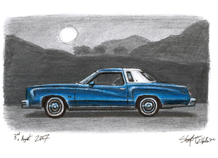 1977 Chevrolet Monte Carlo - original drawings and prints by Stephen Wiltshire