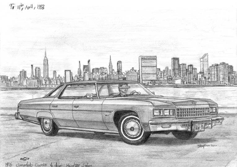 1976 Chevrolet Caprice 4 door Hard Top Sedan (A4 print) with White mount (A4) in Flat grain black frame for A4 mounts (J90)