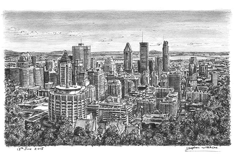 Downtown Montreal with White mount (A4) in Cushioned Black frame for A4 mounts (C59)
