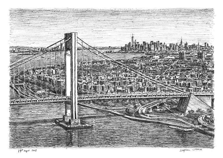 Aerial view of Verrazano Narrows Bridge - original drawings and prints by Stephen Wiltshire