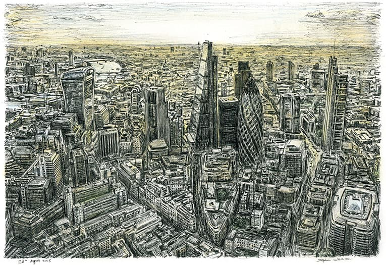 Aerial view of City of London - originals and prints by Stephen Wiltshire MBE