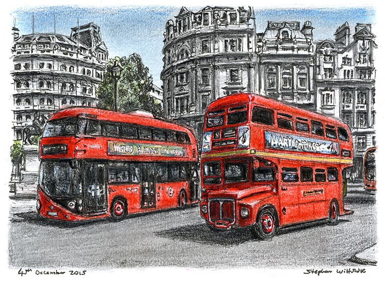 The old and new Routemaster buses (A4 print) with White mount (A4) in Flat grain black frame for A4 mounts (J90)