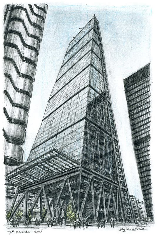Leadenhall Building - original drawings and prints by Stephen Wiltshire
