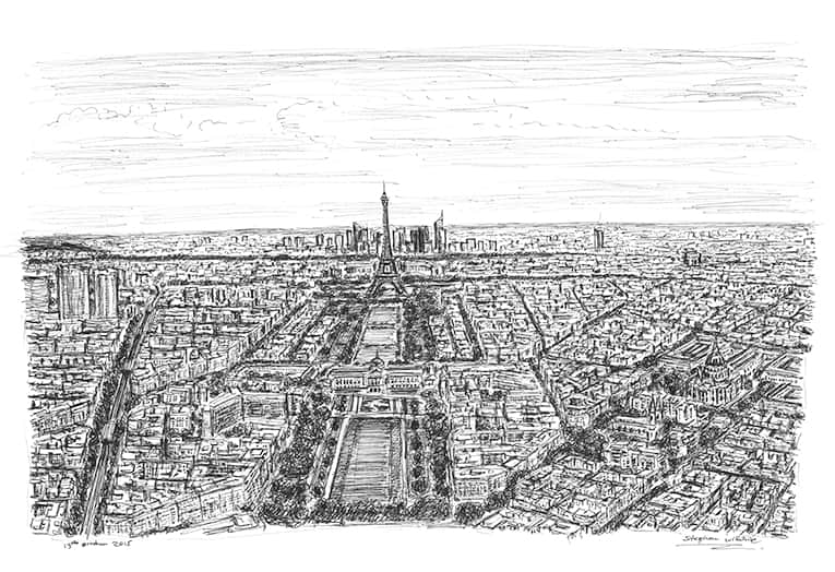 Paris skyline - original drawings and prints by Stephen Wiltshire
