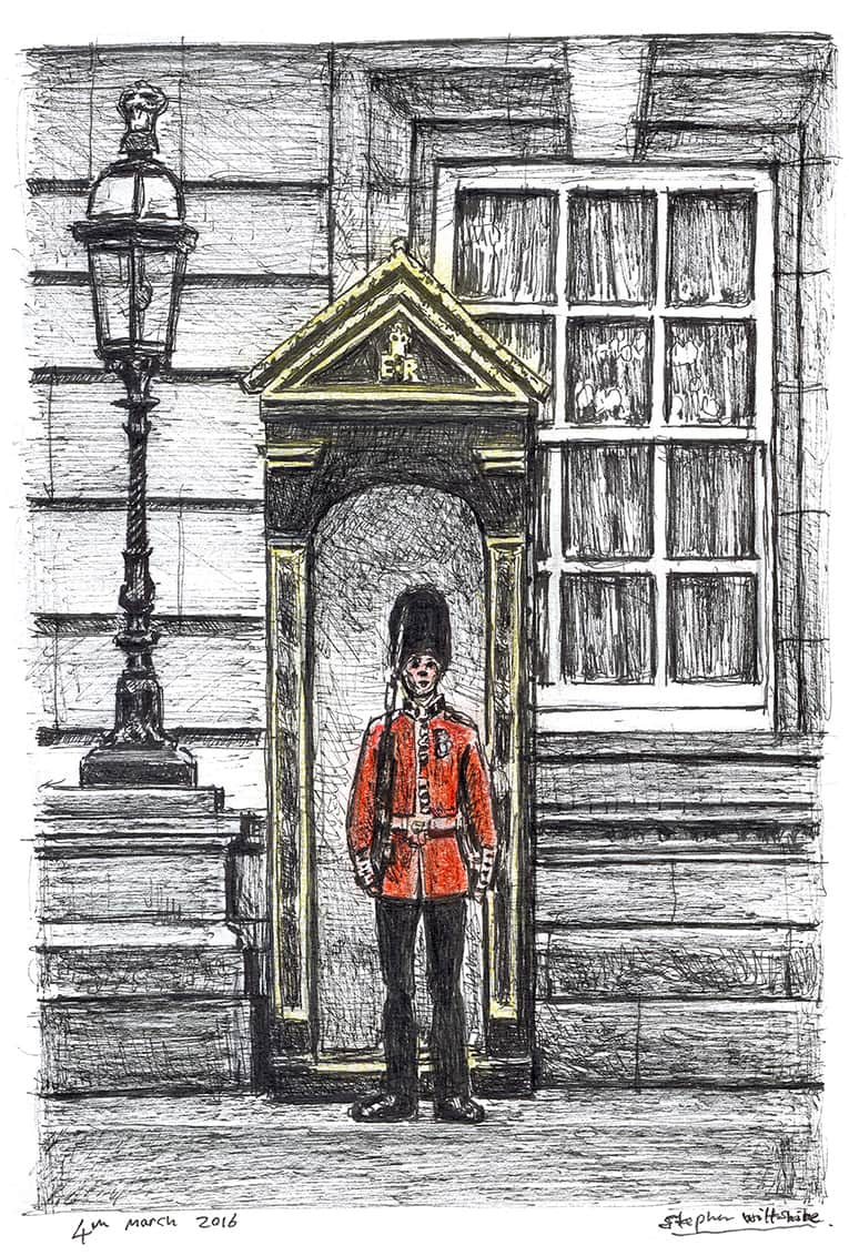 Soldier guarding Buckingham Palace - originals and prints by Stephen Wiltshire MBE