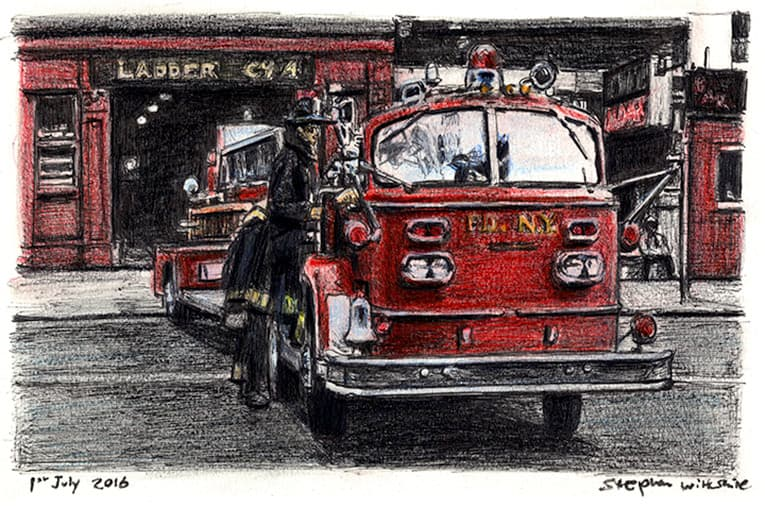 American La France FDNY Ladder - Original Drawings and Prints for Sale