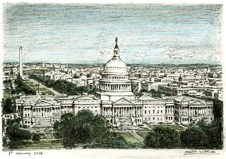 Aerial view of Capitol Hill - originals and prints by Stephen Wiltshire MBE