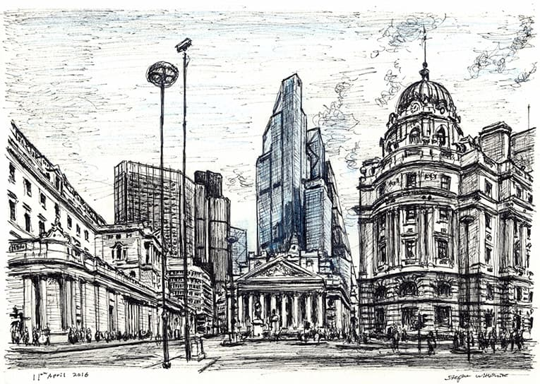 22 Bishopsgate (Bank of England and Royal Exchange) - original drawings and prints by Stephen Wiltshire