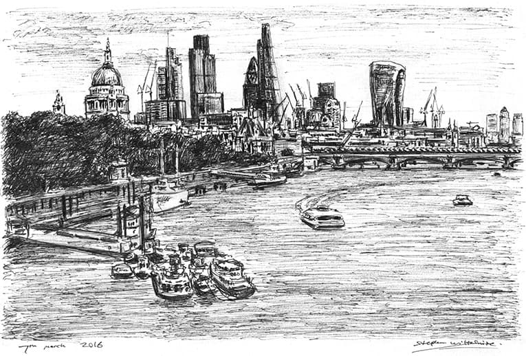 London Skyline at Embankment - original drawings and prints by Stephen Wiltshire