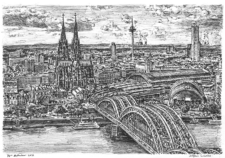 Cologne, Germany (A4 print) with White mount (A4) in Flat grain black frame for A4 mounts (J90)