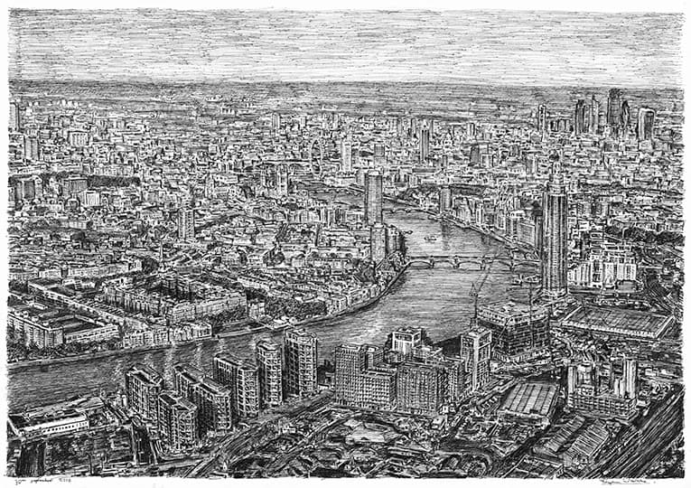 Aerial view of the Nine Elms Development, London - original drawings and prints by Stephen Wiltshire