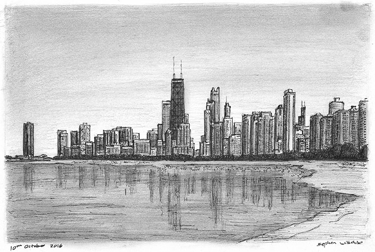 Chicago skyline from Lakeshore Drive - originals and prints by Stephen Wiltshire MBE