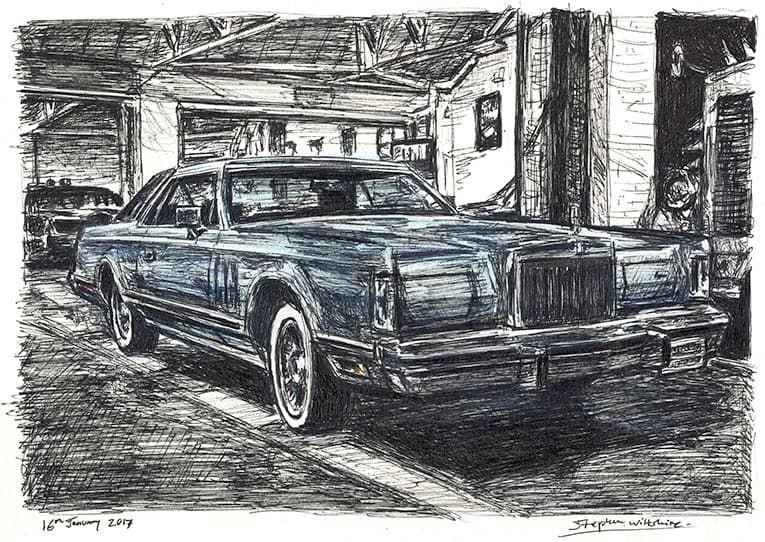1977-79 Lincoln Continental Mark V (A4 print) with White mount (A4) in Flat grain black frame for A4 mounts (J90)