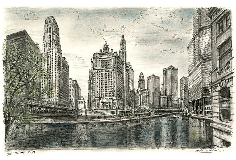 Chicago River USA - originals and prints by Stephen Wiltshire MBE