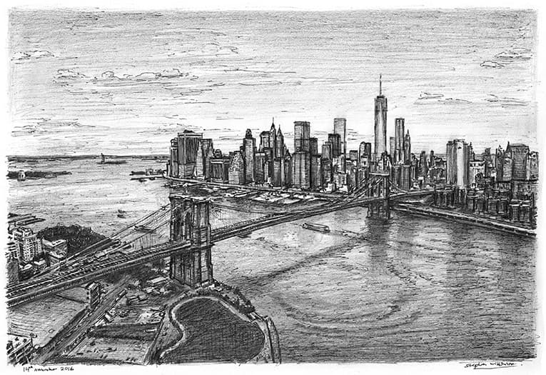 Aerial view of Manhattan skyline & Brooklyn Bridge - original drawings and prints by Stephen Wiltshire