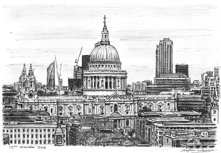 St Pauls Cathedral 2016 - originals and prints by Stephen Wiltshire MBE