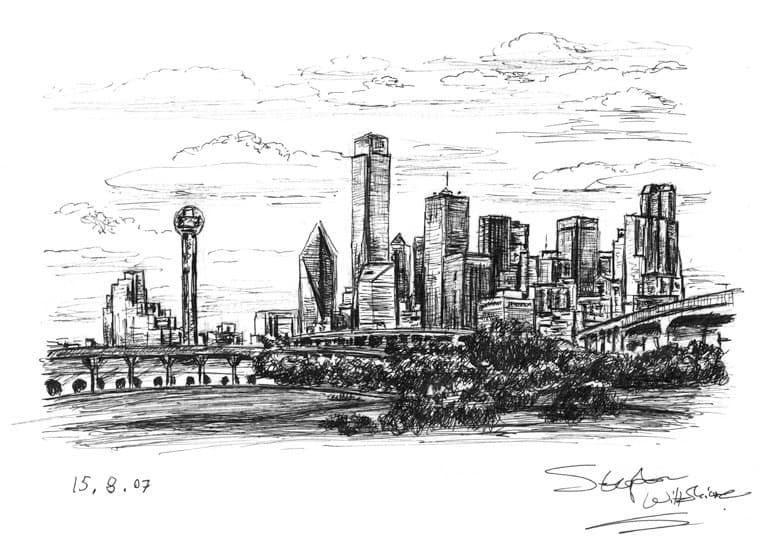Dallas Skyline, Texas with White mount (A4) in Flat grain black frame for A4 mounts (J90)