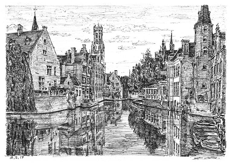 Bruges, Belgium with White mount (A4) in Flat grain black frame for A4 mounts (J90)