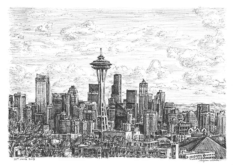 Seattle skyline - originals and prints by Stephen Wiltshire MBE