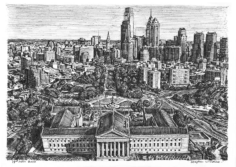 Philadelphia skyline - originals and prints by Stephen Wiltshire MBE