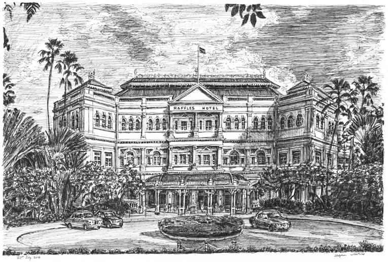 Raffles Hotel, Singapore - Original Drawings and Prints for Sale