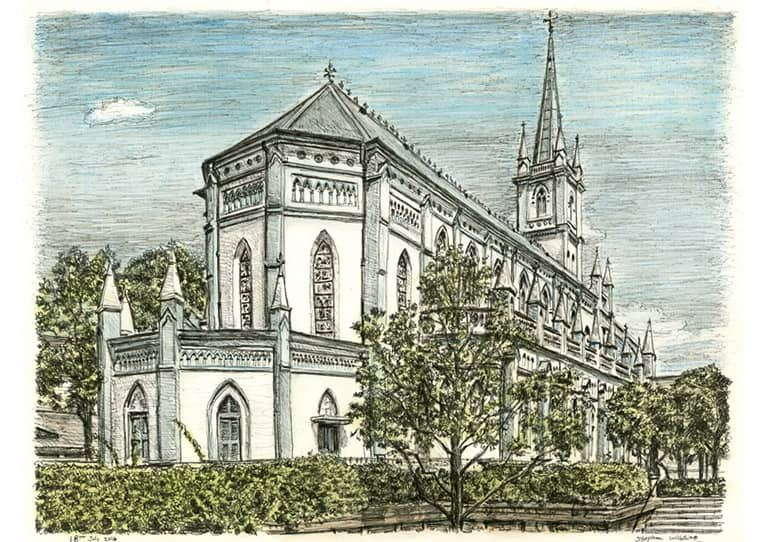 Chijmes, Singapore - original drawings and prints by Stephen Wiltshire
