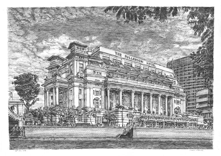 Fullerton Hotel, Singapore - original drawings and prints for sale
