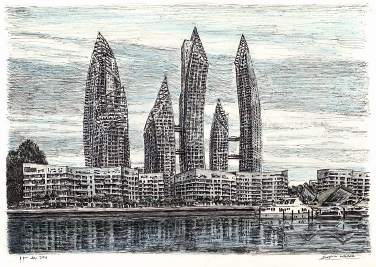 Reflections, Singapore - Original Drawings and Prints for Sale