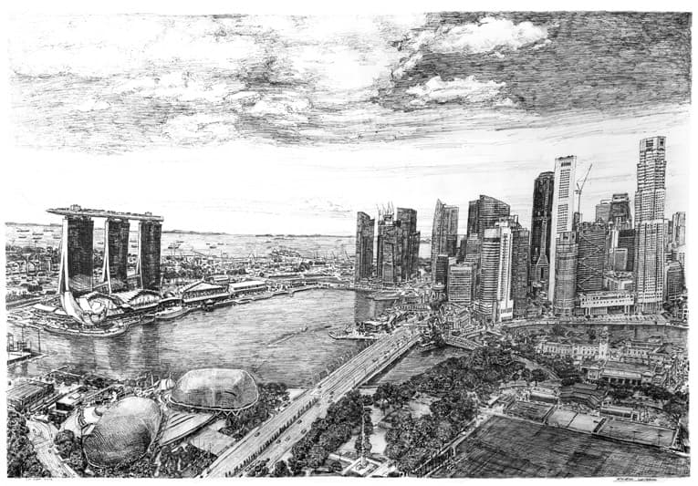 Marina Bay, Singapore - original drawings and prints by Stephen Wiltshire